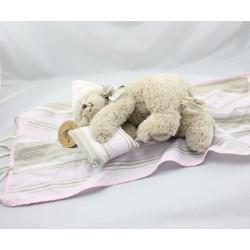Peluche ours marron bonnet rose avec Hamac LOUISE MANSEN