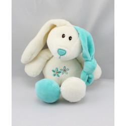 Doudou lapin blanc bleu fleurs GIPSY