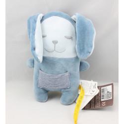 Doudou lapin bleu endormi poche rayé DPAM