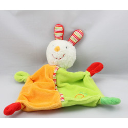 Doudou plat lapin vert orange rouge BABY CLUB