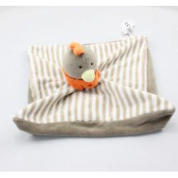 Doudou plat oiseau poule marron rayé orange CHIK TOB
