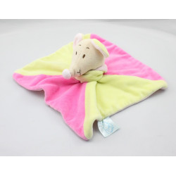 Doudou plat souris rose verte KING BEAR AR