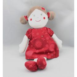 Doudou poupée robe rouge fleurs SUCRE D'ORGE