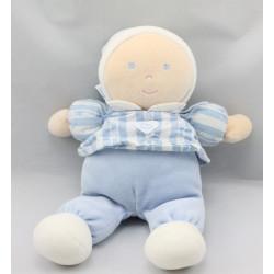 Doudou poupée lutin bleu rayé coeur TARTINE ET CHOCOLAT