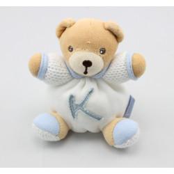 Mini Doudou ours blanc bleu K attache tétine KALOO