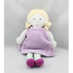 Doudou poupée robe mauve fleur SUCRE D'ORGE