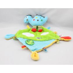 Doudou plat dinosaure bleu mouchoir bleu vert NICOTOY