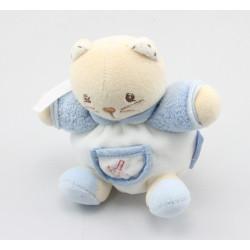 Mini Doudou chat blanc bleu K attache tétine KALOO