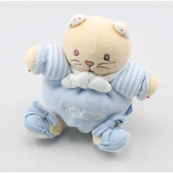 Mini Doudou chat  bleu rayé attache tétine KALOO