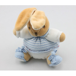 Mini doudou lapin blanc rayé bleu attache tétine KALOO
