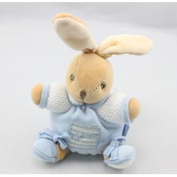 Mini doudou lapin blanc bleu laine attache tétine KALOO