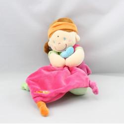 Doudou poupée indienne rose vert avec mouchoir POMMETTE