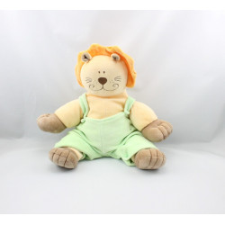 Doudou lion beige orange marron salopette verte