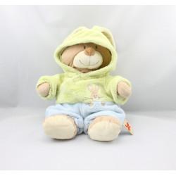 Doudou ours déguisé en lapin vert bleu NICOTOY