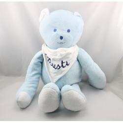 Grand Doudou géant Ours bleu clair bandanas Musti Mustela