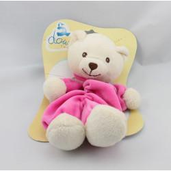 Doudou plat ours blanc rose coeur DOUDI