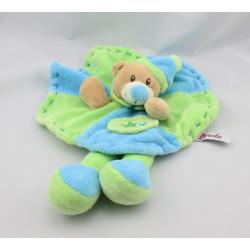 Doudou plat ours vert bleu TOODO