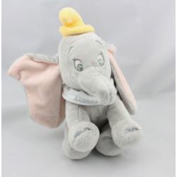 Doudou éléphant gris Dumbo col blanc NICOTOY