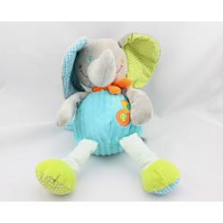 Doudou éléphant gris bleu vert pois rayures MOTS D'ENFANTS
