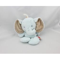 Doudou semi plat éléphant bleu beige NATTOU