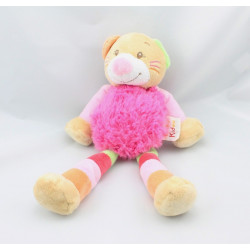 Doudou chat beige rose vert rouge orange DOUKIDOU