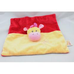 Doudou plat girafe vache jaune rouge rose DOUKIDOU