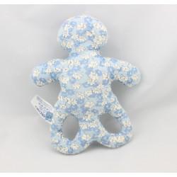 Doudou hochet forme OB bleu fleurs OBAIBI