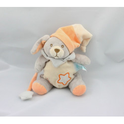Doudou luminescent lapin chien gris orange étoile BABY NAT