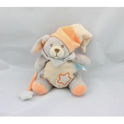 Doudou luminescent lapin chien gris orange étoile BABY NAT