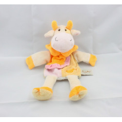 Doudou plat vache girafe jaune rose orange BABY NAT