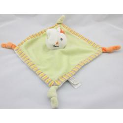 Doudou plat lapin vert orange blanc Bébé9