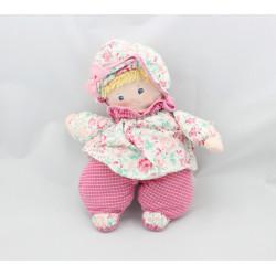 Doudou poupée chiffon rose fleurs carreaux COROLLE 1995