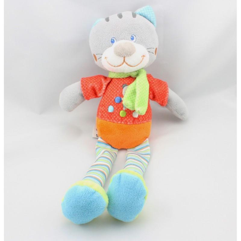 Doudou chat gris rouge orange pois chat brodé MOTS D'ENFANTS