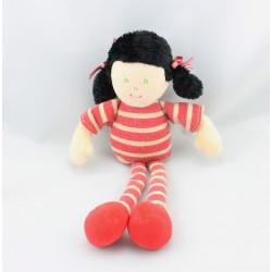 Doudou poupée fille rayé rouge nattes AJENA