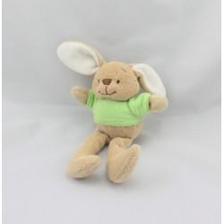 Doudou lapin beige tee shirt vert carotte COMPTINE