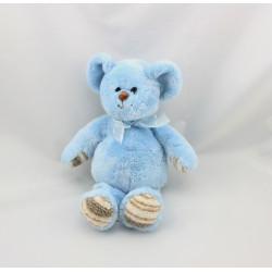 Doudou souris bleu pattes rayé beige CRIS