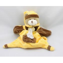Doudou et compagnie marionnette ours marron jaune mouchoir