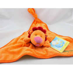Doudou reversible plat lion souris orange vert LILLIPUTIENS