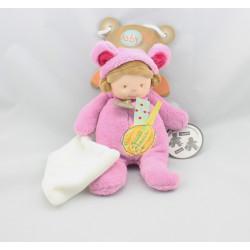 Doudou poupée déguisé en souris rose mouchoir BABY NAT