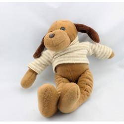 Doudou chien marron pull rayé beige en laine NOUNOURS