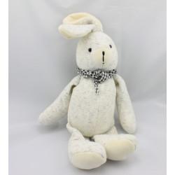 Doudou lapin blanc gris foulard vichy noir CATIMINI