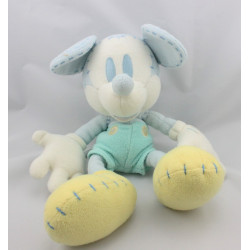Doudou Mickey pastel bleu clair jaune DISNEY