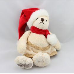Doudou ours écru beige Noël BUKOWSKI