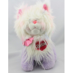 Peluche chat mauve blanc rose Barbie MATTEL 1986