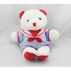 Doudou ours blanc bleu rouge noeud bébé JACADI