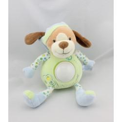 Doudou veilleuse chien vert bleu pommes GIPSY
