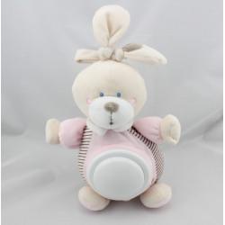Doudou lumineux veilleuse lapin rayé rose NICOTOY