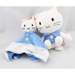 Doudou plat chat bleu blanc MUSTI BENGY