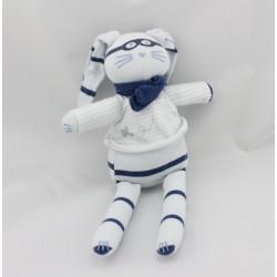 Doudou Lapin bleu rayé bleu marine lunette avion PETIT BATEAU