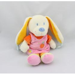 Doudou lapin rose orange oiseau MOTS D'ENFANTS